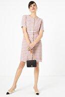 Marks & Spencer Kadın Pembe Ekose Tüvid Elbise T59005932D