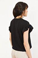 Bianco Lucci Kadın Siyah Kolu Fırfırlı Kaşkorse Bluz 10051015
