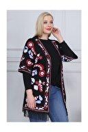 LİKRA Kadın Siyah Büyük Beden Etnik Desen Püsküllü Lı Viskon Kimono
