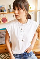 Olalook Kadın Beyaz Koltuk Altı Parçalı Yarasa T-shirt TSH-19000330