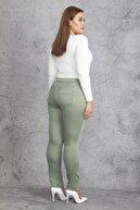 Şans Kadın Yeşil Pamuk Saten Pantolon 65N19234