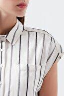 Mavi Çizgili Beyaz Elbise 130874-30701