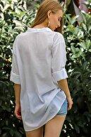 Chiccy Kadın Beyaz Casual Gömlek Yaka Pat Detaylı Yıkamalı Tunik Bluz M10010200Bl96076
