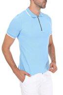 Ghassy Co Erkek Mavi Fermuarlı Yaka Çizgili Polo Yaka T-shirt