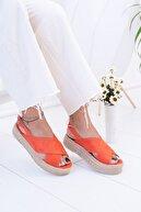 Moda Değirmeni Turuncu Süet Kadın Sandalet Md1026-123-0001