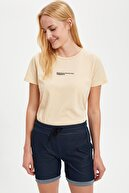 Defacto Kadın Sarı Therapy Slogan Baskılı Tişört S7101AZ20SM