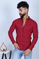 JİYAN Erkek Bordo Gömlek