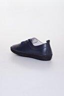 Dilimler Ayakkabı Kadın Lacivert Deri Ortopedik Ayakkabı