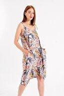 Jument Rahat Kesim Cepli Oversize Asimetrik Salaş Desenli Elbise-mavi Yaprak