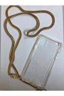MARSTEC Iphone 11 Pro Max Şeffaf Boyun Askılı Altın Zincir Telefon Kılıfı