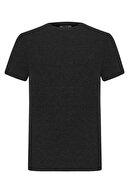 Mudo Erkek Gri Melanj Bisiklet Yaka Basıc T-Shirt 375654