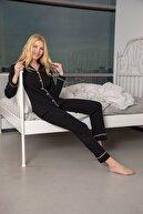 Siyah İnci Kadın Siyah-Pembe Pamuklu Likralı Düğmeli Biyeli Pijama Takım