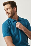 Altınyıldız Classics Erkek Havacı Mavi Polo Yaka Cepsiz Slim Fit Dar Kesim %100 Koton Düz Tişört