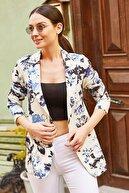 armonika Kadın Lacivert Çiçekli Tek Düğmeli Ceket ARM-20Y001006