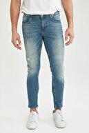 Defacto Erkek Yeşil Skinny Comfort Fit Normal Bel Dar Paça Yırtık Detaylı Jean Pantolon T6471AZ21SP