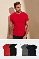TRENDYOL MAN Çok Renkli Erkek Basic 5'li Paket-Slim Fit Bisiklet Yaka Kısa Kollu Süprem T-Shirt TMNAW20TS0243