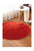 Sarar Yuvarlak Düz Renk Peluş Pofuduk Kaydırmaz Jel Taban Kırmızı Renk Halı 150 X 150 cm
