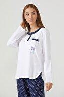 Sementa Kadın Uzun Kol Pijama Takım - Beyaz - Lacivert
