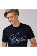Lacoste Erkek Regular Fit Bisiklet Yaka Nakışlı Lacivert T-Shirt TH0051F
