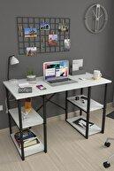Bofigo 60X120 cm 4 Raflı Çalışma Masası Laptop Bilgisayar Masası Ofis Ders Yemek Cocuk Masası Beyaz