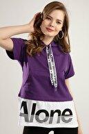 Pattaya Kadın Baskılı Kısa Kollu Örme Sweatshirt Y20s110-4143