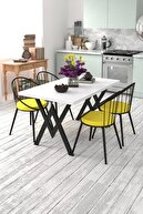 Evdemo Eylül 4 Kişilik Mutfak Masası Takımı Beyaz Sarı