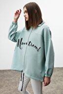 GRIMELANGE INDIA Kadın Mint Önü Nakışlı Fermuarlı Sweatshirt