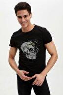Defacto Kuru Kafa Baskılı Ekstra Slim Fit Tişört