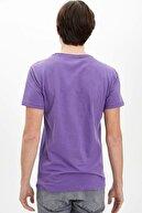 Defacto Erkek Mor Basic Slim Fit T-shirt