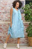 Chiccy Kadın Bebe Mavi Fırfır Biyeler Ahşap Boncuklar Cep Detaylı Astarlı Elbise M10160000EL97250