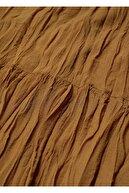 Mango Kadın Orta Kahverengi Dökümlü Pilili Elbise