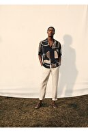 Mango Erkek Ekru Dar Kesimli Keten Pantolon