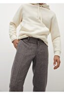 Mango Erkek Kahverengi Kareli Yün Pantolon