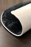 Sarar 110 X 110 cm Yuvarlak Düz Renk Peluş Pofuduk Kaydırmaz Jel Taban Siyah Renk Halı