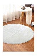 Sarar Yuvarlak Düz Renk Peluş Pofuduk Kaydırmaz Jel Taban Beyaz Renk Halı 110 X 110 Cm