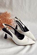 Nil Shoes Kadın Beyaz Suni Deri Cilt Topuklu Ayakkabı