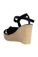 Soho Exclusive Siyah Süet Kadın Dolgu Topuklu Ayakkabı 15943