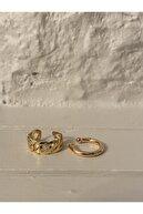 KİLİG Gold Renk Zincir&basic 2'li Earcuff