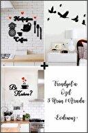 evdeucuz Mutfağım+bi Kahve +7'li Kuş Duvar Dekoru 3 Ürün 1 Arada