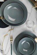Kütahya Porselen Soho 24 Parça Pearl Mavi Yemek Takımı