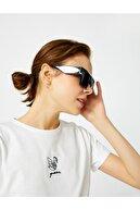 Koton Kadın Ekru Baskili Bisiklet Yaka Pamuklu Tisört