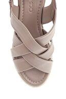 Derimod Kadın Vizon Deri Kalın Tabanlı Sandalet
