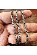 925 Gümüş Encili Silver 925 Ayar Gümüş Kral Zincir Yuvarlak Kral Model Kolye 3.5 Mm