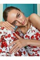Koton Kadın Askili Çiçek Desenli Kisa Kollu Yirtmaç Detayli Maxi Elbise