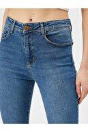 Koton Kadın Mavi Yüksek Bel Dar Kesim Dar Paça Carmen Jean Pantolon