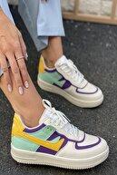 İnan Ayakkabı Kadın Beyaz&Mor&Sarı Spor Ayakkabı&Sneaker INA100