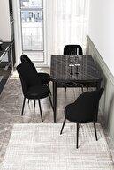 Canisa Concept Via Açılabilir Mutfak Masası Takımı-siyah Masa+4 Adet Siyah Sandalye