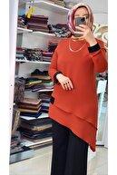 feray suda Pulpayet Detaylı Asimetrikkesim Tunik Özelgün Şık Zarif Dügünlük Tunik Kiremit Renk Kadın Krep Tunik