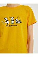 Koton Kadın Turuncu Baskılı Bisiklet Yaka Pamuklu T-Shirt