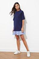 TRENDYOLMİLLA Lacivert Çizgi Detaylı Örme Elbise TWOSS20EL2802